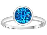 Tommaso Design 7mm Round Genuine Blue Topaz Engagement Solitaire Ring
