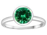 Tommaso Design™ 7mm Round Simulated Emerald Engagement Solitaire Ring