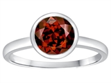 Tommaso Design™ 7mm Round Genuine Garnet Engagement Solitaire Ring