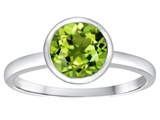 Tommaso Design 7mm Round Genuine Peridot Engagement Solitaire Ring