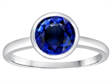 Tommaso Design 7mm Round Created Sapphire Engagement Solitaire Ring