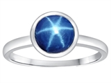 Tommaso Design 7mm Round Created Star Sapphire Engagement Solitaire Ring