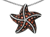 Original Star K Starfish Pendant With Round Simulated Orange Mexican Fire Opal