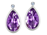 Original Star K™ Pear Shape Genuine Amethyst Earring Studs With High Post On Back