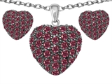 Original Star K Created Ruby Puffed Heart Love Pendant Box Set with matching earrings