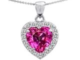 Original Star K™ Heart Shape 8mm Created Pink Sapphire Pendant style: 307936