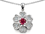 Original Star K Flower Pendant With Round 4mm Created Ruby