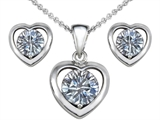 Original Star K™ Round Genuine White Topaz Heart Pendant With Free Box Set Matching Earrings