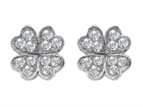 Celtic Love by Kelly™ Small Lucky Clover Earrings with Round Cubic Zirconia style: 307940