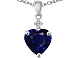 Original Star K Heart Shape 8mm Created Dark Sapphire Heart Pendant