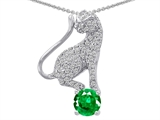 Original Star K™ Cat Pendant With Round 7mm Simulated Emerald