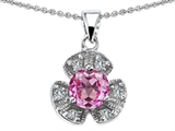Original Star K Flower Pendant With Round 6mm Created Pink Sapphire
