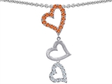 Original Star K Dangling Heart with Round Simulated Orange Mexican Fire Opal