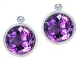 Original Star K™ Round Genuine Amethyst Earring Studs With High Post On Back