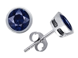 Original Star K Classic Round 5mm Genuine Sapphire Bezel Set Earring Studs