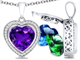 Switch-It Gems Heart Shape 10mm Simulated Amethyst Pendant with 12 Interchangeable Simulated Birthstones