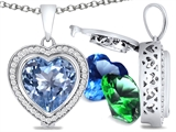 Switch-It Gems™ Heart Shape 10mm Simulated Aquamarine Pendant with 12 Interchangeable Simulated Birthstones