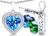 Switch-It Gems Heart Shape 10mm Simulated Blue Topaz Pendant with 12 Interchangeable Simulated Birthstones