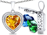 Switch-It Gems Heart Shape 10mm Simulated Citrine Pendant with 12 Interchangeable Simulated Birthstones