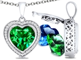 Switch-It Gems Heart Shape 10mm Simulated Emerald Pendant with 12 Interchangeable Simulated Birthstones
