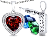 Switch-It Gems Heart Shape 10mm Simulated Garnet Pendant with 12 Interchangeable Simulated Birthstones