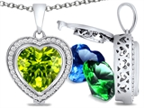 Switch-It Gems Heart Shape 10mm Simulated Peridot Pendant with 12 Interchangeable Simulated Birthstones