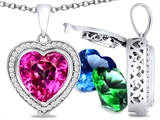 Switch-It Gems™ Heart Shape 10mm Simulated Pink Tourmaline Pendant with 12 Interchangeable Simulated Birthstones