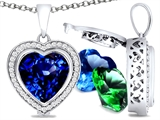 Switch-It Gems Heart Shape 10mm Simulated Sapphire Pendant with 12 Interchangeable Simulated Birthstones