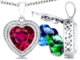 Switch-It Gems Heart Shape 10mm Simulated Ruby Pendant with 12 Interchangeable Simulated Birthstones