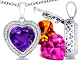 Switch-It Gems Heart Shape 12mm Simulated Amethyst Pendant with 12 Interchangeable Simulated Birthstones