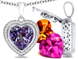 Switch-It Gems™ Heart Shape 12mm Simulated Alexandrite Pendant with 12 Interchangeable Simulated Birthstones