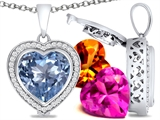 Switch-It Gems™ Heart Shape 12mm Simulated Aquamarine Pendant with 12 Interchangeable Simulated Birthstones