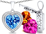 Switch-It Gems™ Heart Shape 12mm Simulated Blue Topaz Pendant with 12 Interchangeable Simulated Birthstones