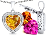 Switch-It Gems™ Heart Shape 12mm Simulated Citrine Pendant with 12 Interchangeable Simulated Birthstones