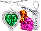 Switch-It Gems Heart Shape 12mm Simulated Emerald Pendant with 12 Interchangeable Simulated Birthstones