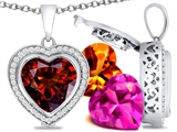 Switch-It Gems™ Heart Shape 12mm Simulated Garnet Pendant with 12 Interchangeable Simulated Birthstones