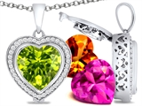 Switch-It Gems Heart Shape 12mm Simulated Peridot Pendant with 12 Interchangeable Simulated Birthstones