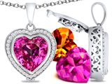 Switch-It Gems™ Heart Shape 12mm Simulated Pink Tourmaline Pendant with 12 Interchangeable Simulated Birthstones