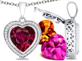 Switch-It Gems Heart Shape 12mm Simulated Ruby Pendant with 12 Interchangeable Simulated Birthstones