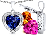 Switch-It Gems Heart Shape 12mm Simulated Sapphire Pendant with 12 Interchangeable Simulated Birthstones