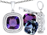 Switch-It Gems Cushion Cut 10mm Simulated Alexandrite Pendant with 12 Interchangeable Simulated Birthstones