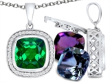 Switch-It Gems Cushion Cut 10mm Simulated Emerald Pendant with 12 Interchangeable Simulated Birthstones