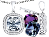 Switch-It Gems™ Cushion Cut 10mm Simulated White Topaz Pendant with 12 Interchangeable Simulated Birth Months style: 307993