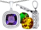 Switch-It Gems Cushion Cut 12mm Simulated Alexandrite Pendant with 12 Interchangeable Simulated Birthstones