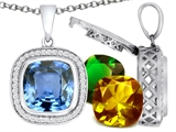 Switch-It Gems™ Cushion Cut 12mm Simulated Aquamarine Pendant with 12 Interchangeable Simulated Birthstones