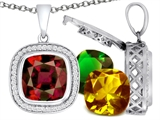 Switch-It Gems Cushion Cut 12mm Simulated Garnet Pendant with 12 Interchangeable Simulated Birthstones