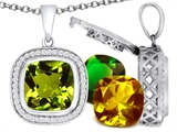 Switch-It Gems Cushion Cut 12mm Simulated Peridot Pendant with 12 Interchangeable Simulated Birthstones