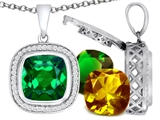 Switch-It Gems Cushion Cut 12mm Simulated Emerald Pendant with 12 Interchangeable Simulated Birthstones