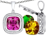 Switch-It Gems™ Cushion Cut 12mm Simulated Pink Tourmaline Pendant with 12 Interchangeable Simulated Birthstones