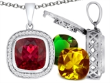 Switch-It Gems Cushion Cut 12mm Simulated Ruby Pendant with 12 Interchangeable Simulated Birthstones
